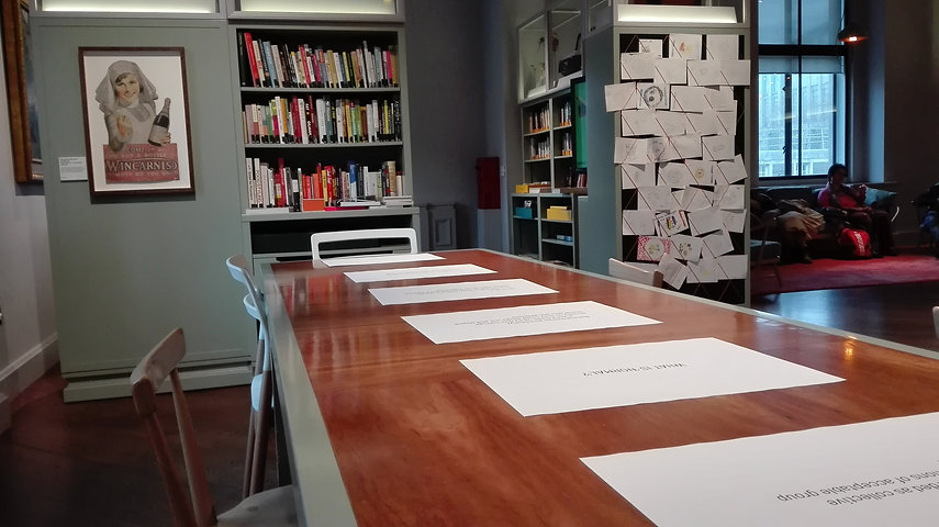 Worksheets on table in the Reading Room