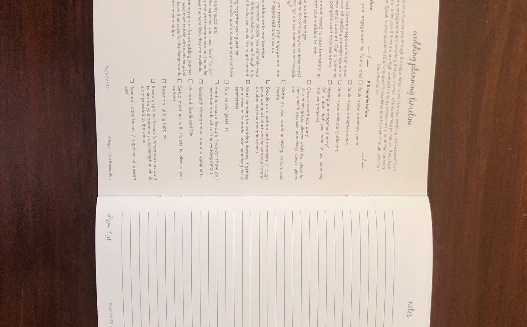 Wedding Planning Checklist Booklet - internal pages