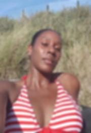 black woman sunbathing