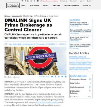 DMALINK Signs UK Prime Brokerage as Central Clearer