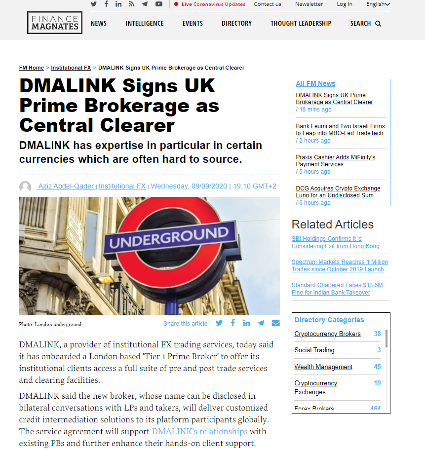 DMALINK eFX trading, RegTech