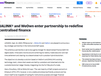 DMALINK® and WeOwn enter partnership to redefine decentralised finance