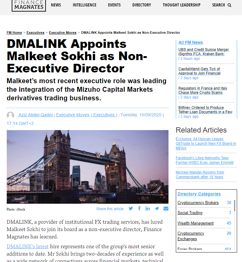 DMALINK Appoints Malkeet Sokhi as Non-Executive Director
