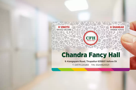 Client: Chandra Fancy Hall | Transparent Business Cards