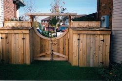 Cedar Fence Gate and Sheds