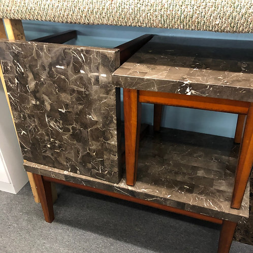 gray marble coffee table and end tables