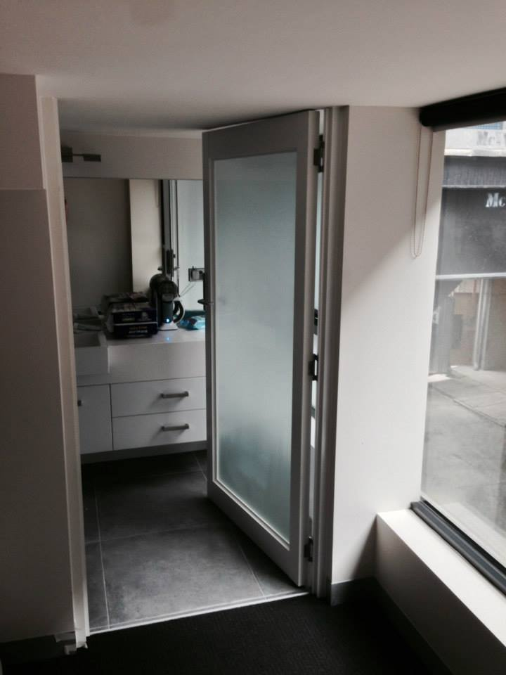 Internal door with frosted glass