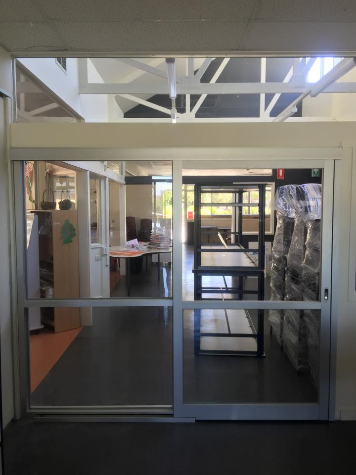 Sliding door in a school