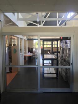 Sliding door in a school