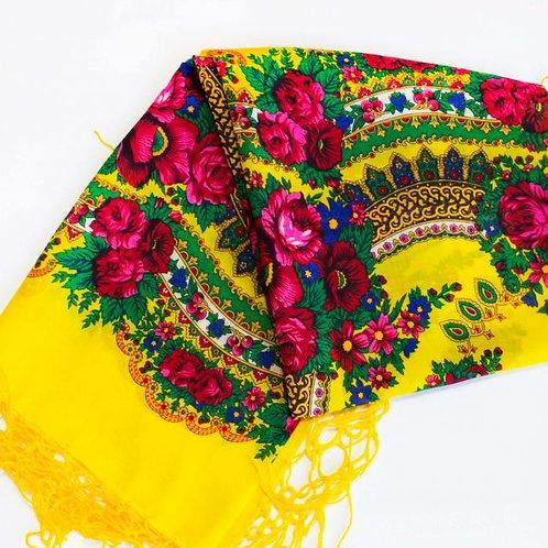 Châle ethnique fleuri 125 cm