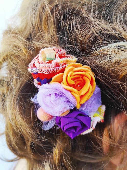 Broche - Barrette de cheveux Oranges violettes