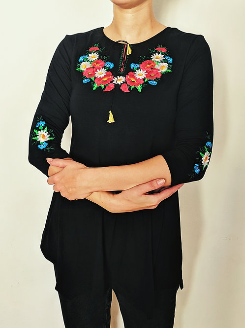 Embroidered Tunic - Bouquet & Poppies