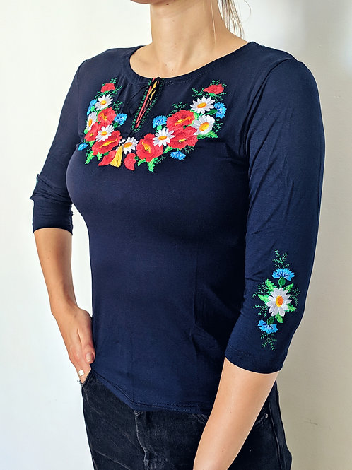 Embroidered T-shirt - Bouquet & Poppies