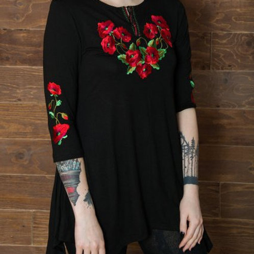 Embroidered Tunic - Poppies
