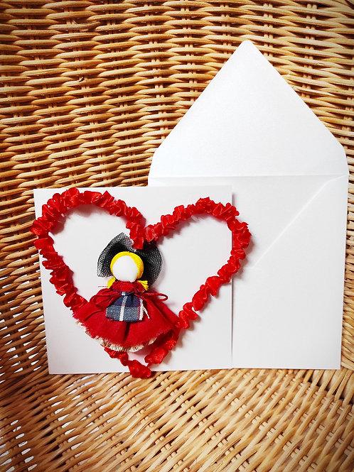 Carte Coeur avec une poupée porte-bonheur détachable