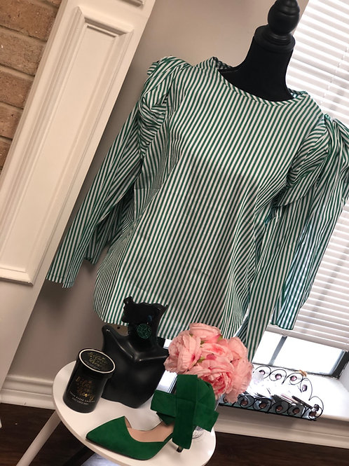 Pin Stripe Dramatic Blouse