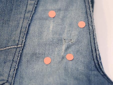 ポケット横の穴ふさぎデニムの穴補修
