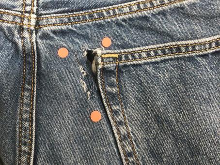 デニムのポケット周辺の穴補修