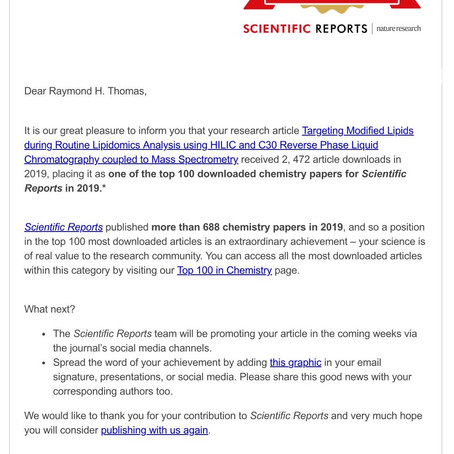 Congratulations! Your article is in the top 100 chemistry Scientific Reports papers in 2019