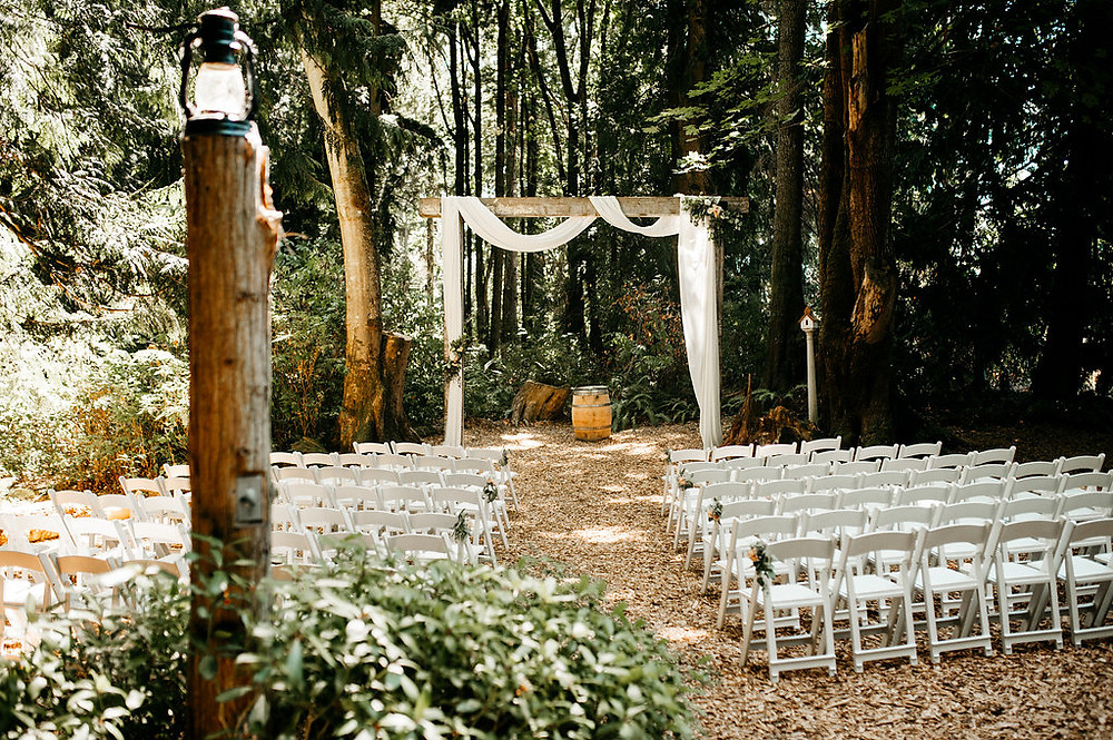 Snohomish Wedding | Ceremony in the Woods | Large arbor, Simple Decor, PNW
