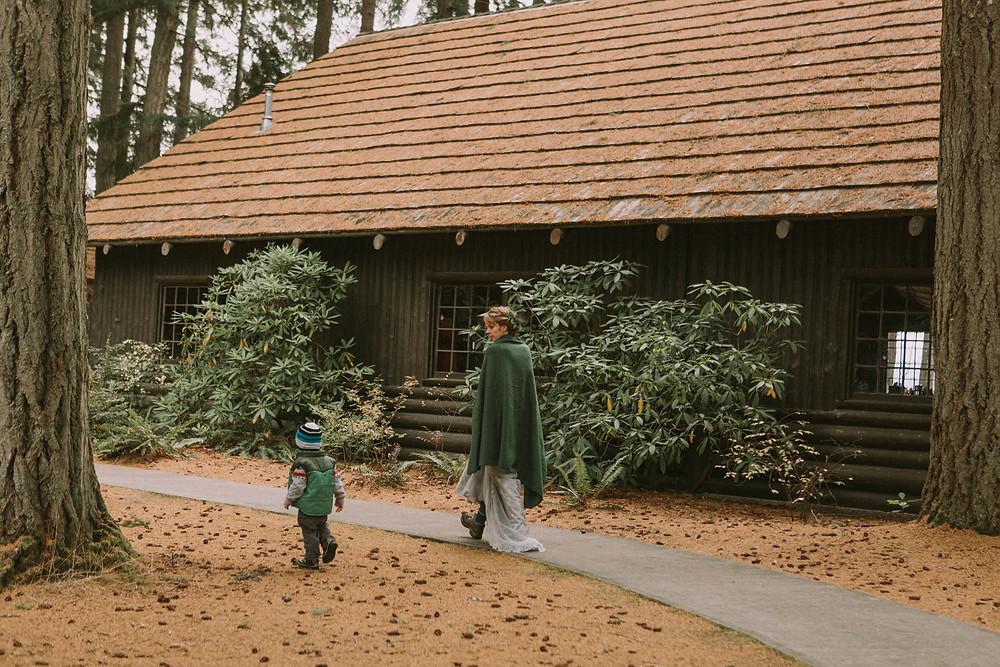 Kitsap Memorial State Park Wedding | Log Hall | Winter Bride with Son