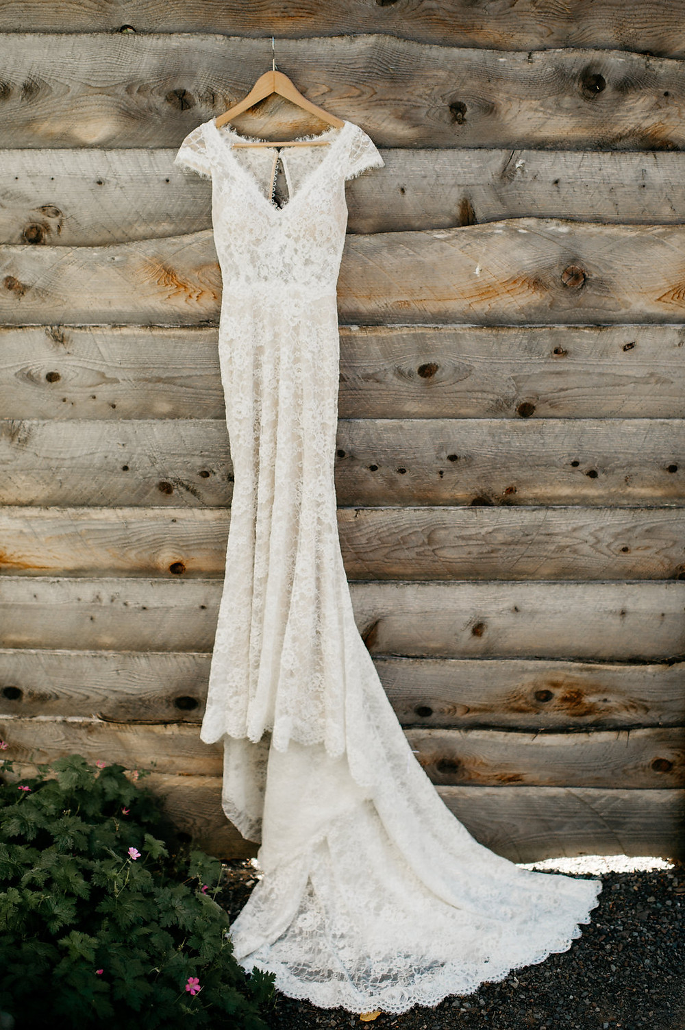 Snohomish Rustic Barn Wedding | Lace Wedding Gown, Cap Sleeves