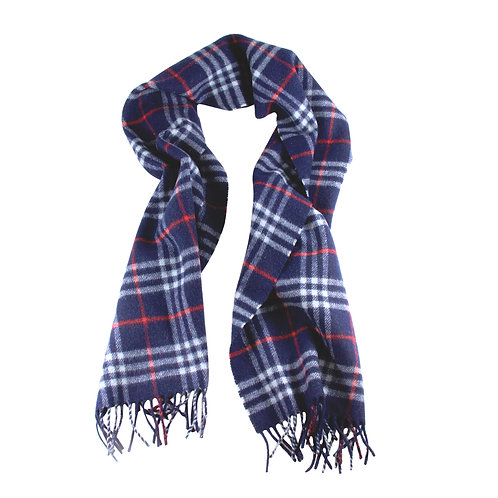 BURBERRY Heritage Scarf in 100% Lambswool Navy Check
