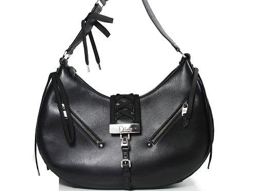 Christian Dior Lace Up Shoulder Bag in Black Leather