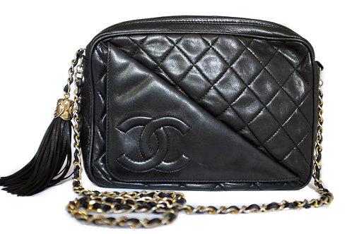 Chanel Vintage Tassel Camera Bag in Black Lambskin