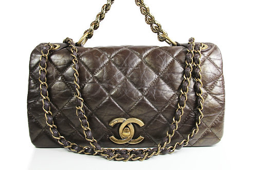 Chanel Small Pondicherry Bag in Brown Quilted Calfskin