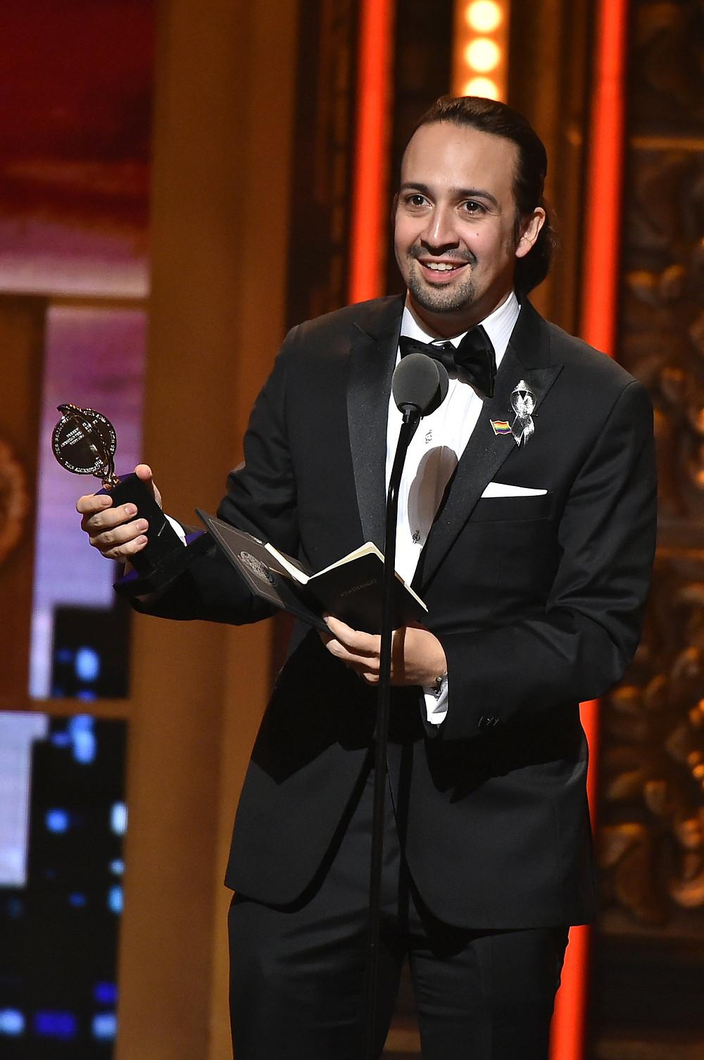 Lin-Manuel Miranda accepts one of many Tony Awards for Hamilton