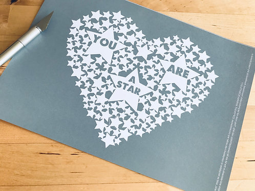 """You are a star"" papercutting template"