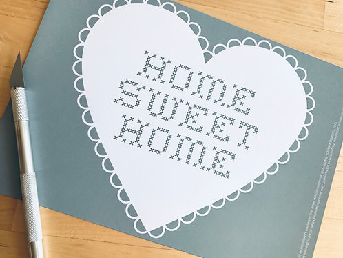 """Home sweet home crosstitch"" papercutting template"