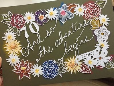 'Custom 70th birthday flower papercut'