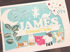 'Custom personalised baby papercut'