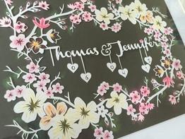 'Custom flower Wedding/Anniversary papercut'