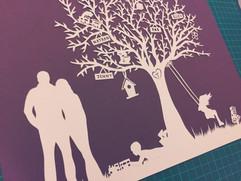 'Custom silhouette family tree'