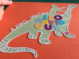 'Custom personalised baby Christening dinosaur themed papercut'
