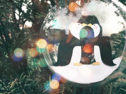 'Penguin pair christmas bauble'