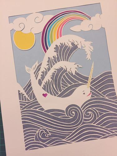 'Custom narwhal rainbow papercut'
