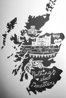 'Custom Wedding map papercut'