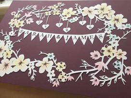 'Custom Wedding/Anniversary flower frame papercut'