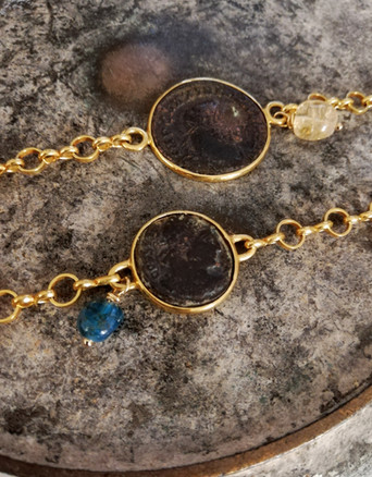 Bracelets plaqué or pièces de monnaies anciennes - Empire Romain