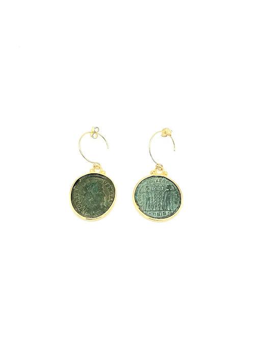 Boucles d'oreilles demi créoles pièces antiques