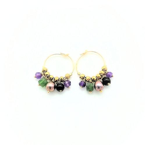 """Boucles d'oreilles mini créoles """"Purpura"""""""
