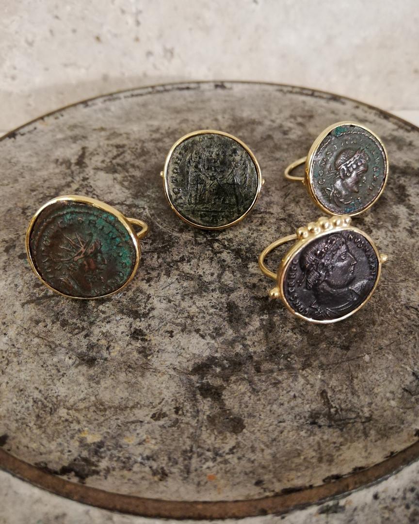 Bagues pièces de monnaies anciennes - Empire Romain