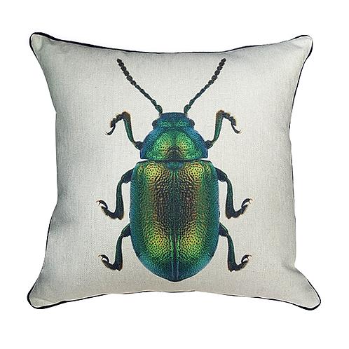 Cojín con Escarabajo Verde