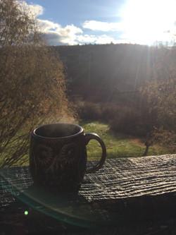 Coffee off the Sun lit deck