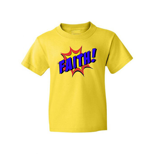 Faith Superhero Girls Boys Yellow T-Shirt