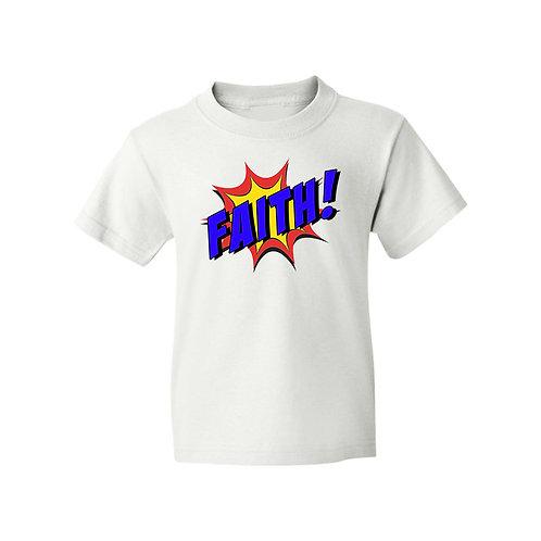 Faith Superhero Girls Boys White T-Shirt